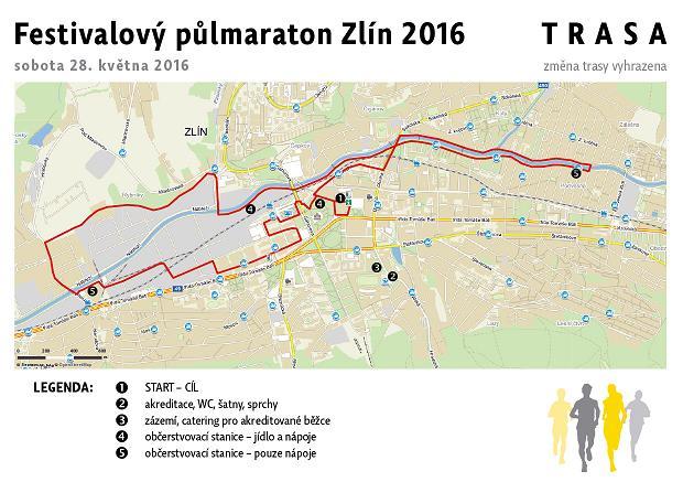 Zlin Film Festival půlmaraton 2016 trasa