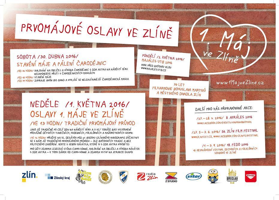 1. máj Zlín 2016 program